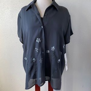 NWT Josephine Chaus Button Down Blouse & Tank Top